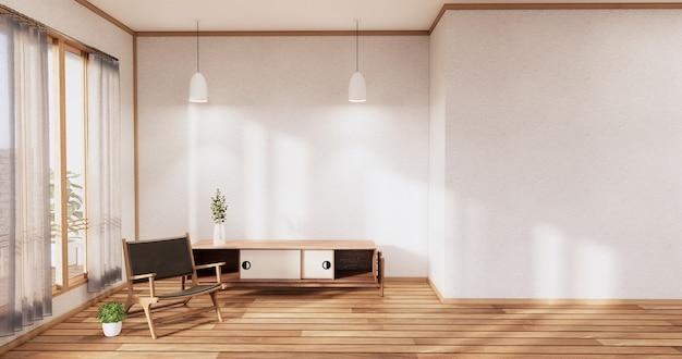Szafka drewniana japoński projekt na salonie w stylu zen pusta ściana w tle. renderowanie 3d