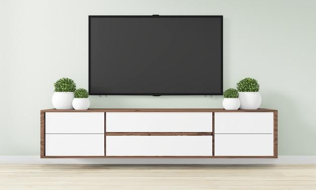 Szafka drewniane wzornictwo w nowoczesnym pustym pokoju w stylu japońskim - zen, minimalne wzornictwo. renderowanie 3d