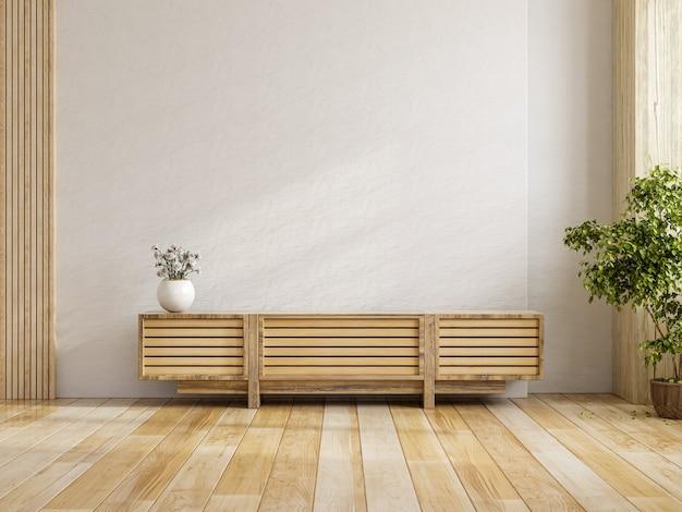 Szafka na makieta ściany wewnętrznej telewizora w nowoczesnym pustym pokoju, minimalistyczny design, renderowanie 3d
