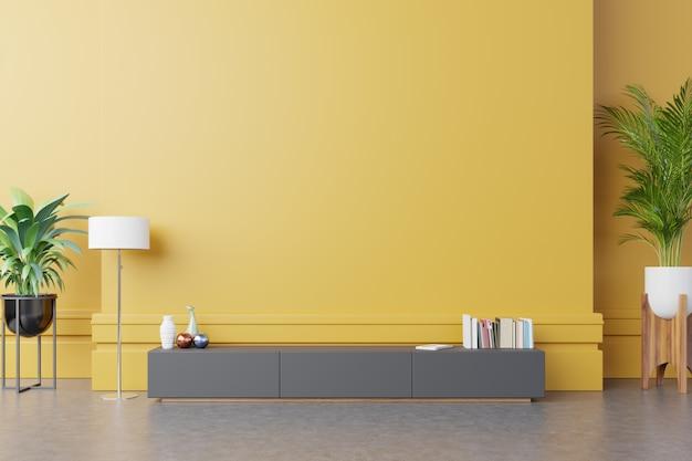 Szafka na telewizor lub przedmiot w nowoczesnym salonie z lampą, stołem, kwiatami i roślinami