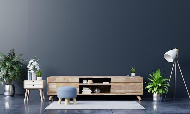 Szafka na telewizor w nowoczesnym pustym pokoju na ciemnej ścianie