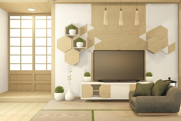 Szafka na telewizor w tropikalnym pustym pokoju w stylu japońskim - zen, minimalne wzory. renderowanie 3d