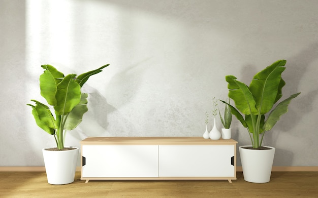 Szafka ozdobiona doniczkami po obu stronach w nowoczesnym salonie zen. renderowanie 3d