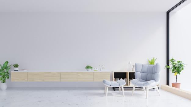 Szafka pod telewizor i szare krzesło na betonowej ścianie z marmurową podłogą.