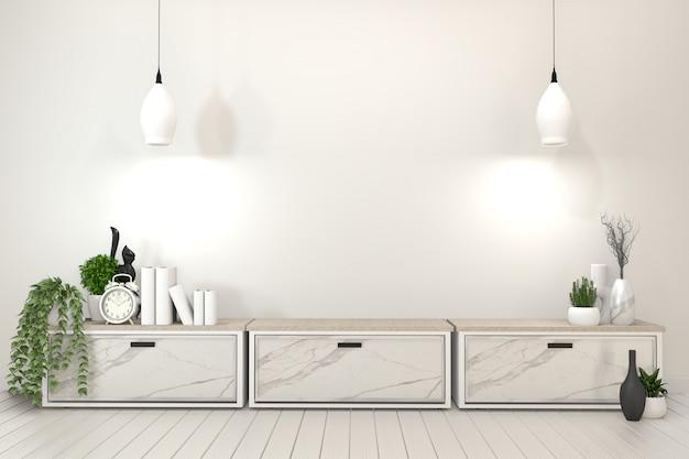 Szafka półka tv w nowoczesnym pustym pokoju. renderowania 3d