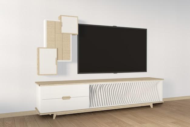 Szafka rtv drewniana w nowoczesnym stylu pokoju zen, minimalistyczny design. renderowanie 3d