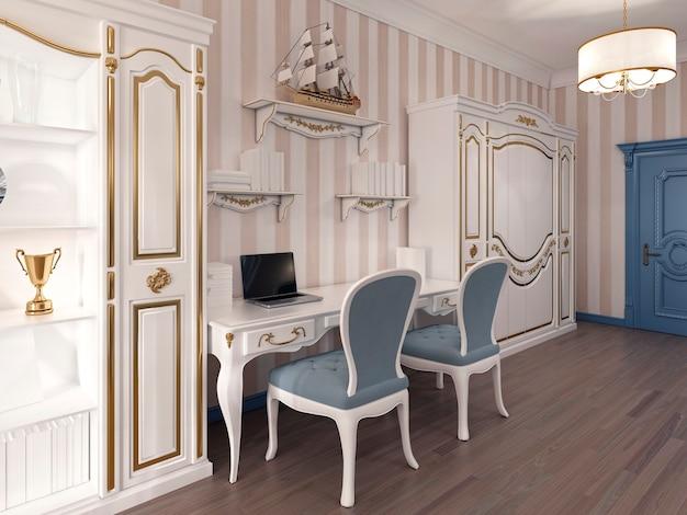 Szafka rtv w luksusowym salonie zaprojektowanym w nowoczesnym stylu. projekt wykonany w kolorze brązowo-żółtym. renderowania 3d.