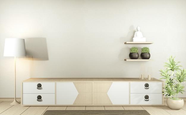 Szafka rtv w nowoczesnym pustym pokoju w stylu japońskim - zen, minimalistyczny design. renderowanie 3d