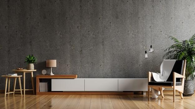 Szafka rtv w nowoczesnym salonie z fotelem i rośliną