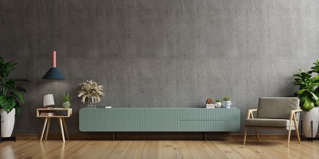Szafka rtv w nowoczesnym salonie z fotelem, lampką, stołem, kwiatkiem i rośliną na betonowej ścianie. renderowanie 3d