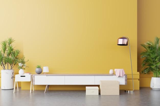 Szafka rtv w nowoczesnym salonie z lampką