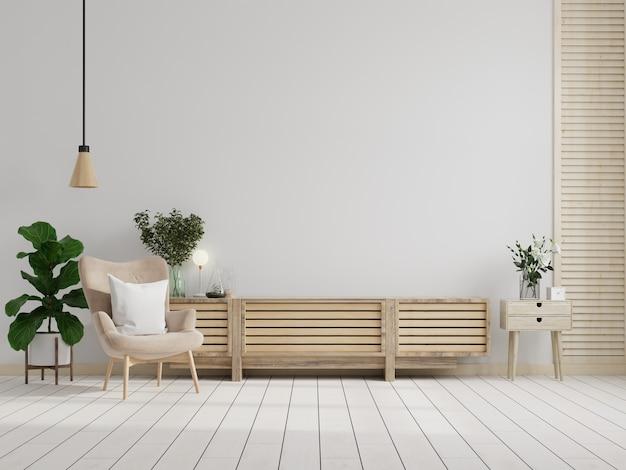 Szafka tv na białej ścianie w salonie z fotelem, minimalistyczny design, renderowanie 3d