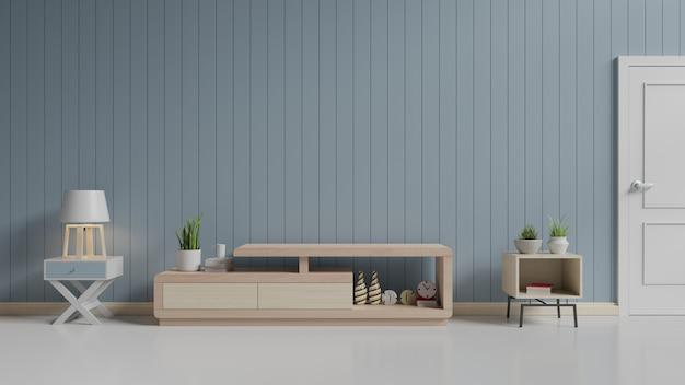 Szafka tv na drewnianej podłodze w nowoczesnym pokoju ma niebieskie tło