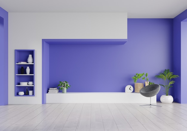 Szafka tv na fantomowej niebieskiej ścianie w salonie, minimalistyczny design.