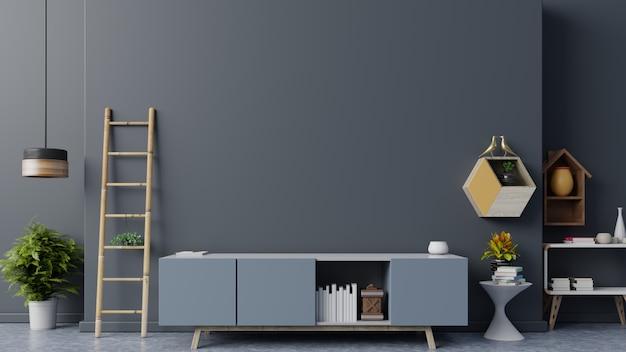 Szafka tv w nowoczesnym pustym pokoju, minimalistyczny design.