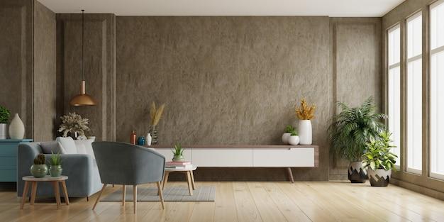 Szafka tv w nowoczesnym salonie betonowa ściana, renderowanie 3d