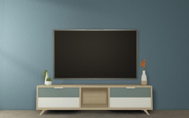 Szafka tv wykonaj makietę w stylu japońskim dark room. 3d rednering