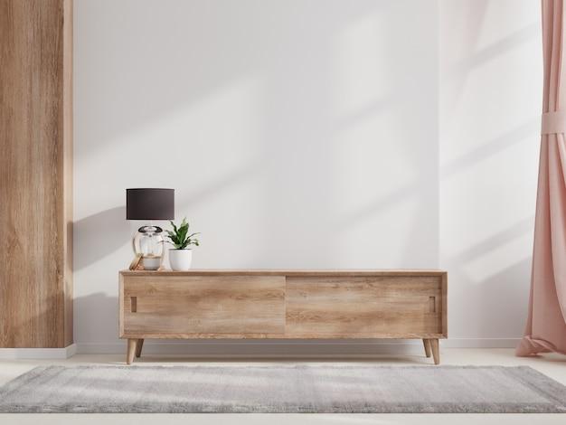 Szafka w nowoczesnym pustym pokoju z białą ścianą