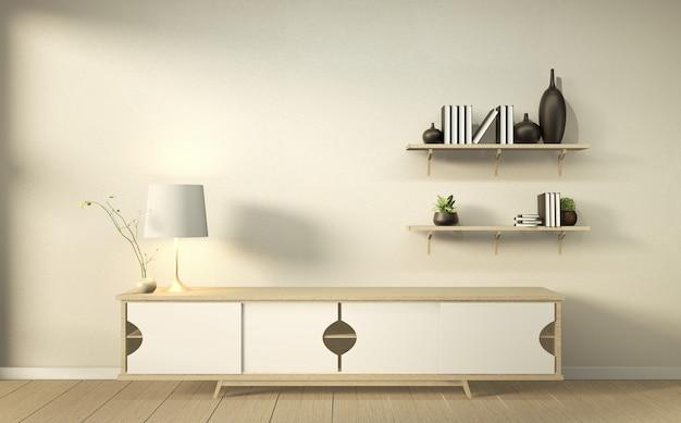 Szafka w nowoczesnym salonie z półkami