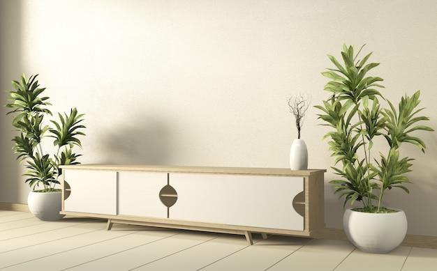 Szafka w nowoczesnym salonie z roślinami