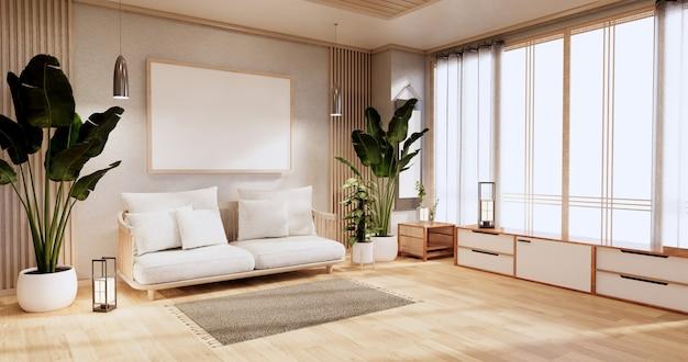 Szafka w salonie z podłogą z mat tatami i fotelem z sofą. renderowanie 3d