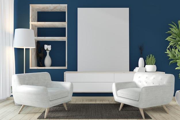 Szafka w stylu zen na nowoczesnym ciemnoniebieskim pokoju i dekoracji. renderowania 3d
