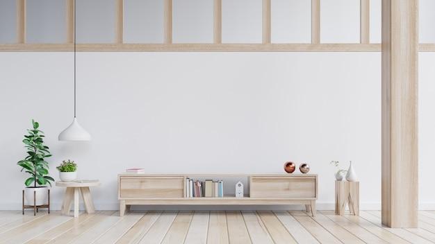 Szafki i ściana do telewizora w salonie, białe ściany.
