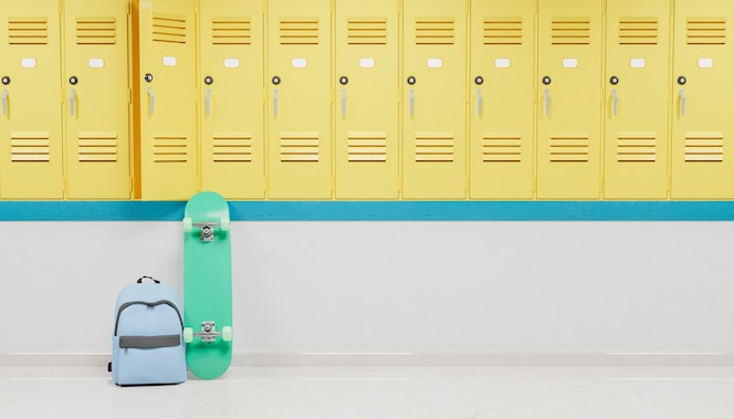 Szafki na korytarzu szkoły