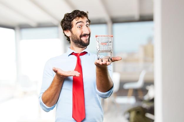 Szalony biznesmen szczęśliwy wyraz