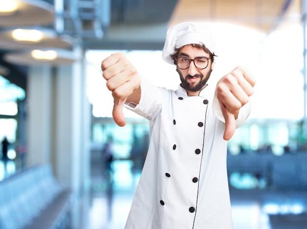 Szalony kucharz wściekły wyraz