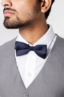 Szara kamizelka garnitur biznesowa sesja odzieży męskiej