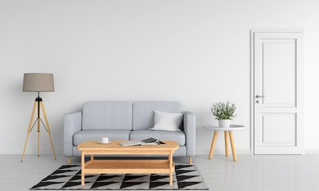 Szara kanapa i stół z drewna w białym salonie