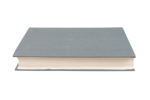 Szara książka z okładką z tkaniny na białym
