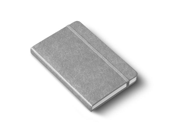 Szara makieta zamkniętego notatnika na białym tle