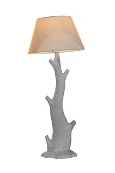 Szara nowoczesna lampa stołowa na białym tle.