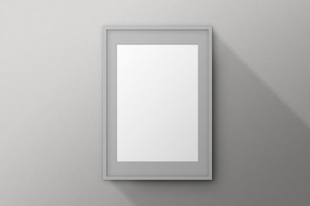 Szara ramka z passepartout na białym tle