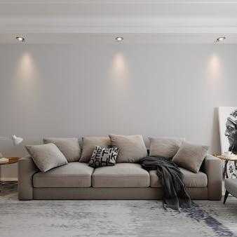 Szara sofa i reflektory w pokoju