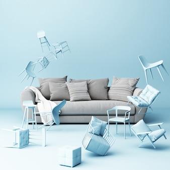 Szara sofa otoczona mnóstwem pływających krzeseł