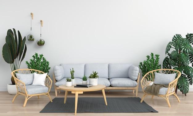 Szara sofa w białym pokoju do makiety