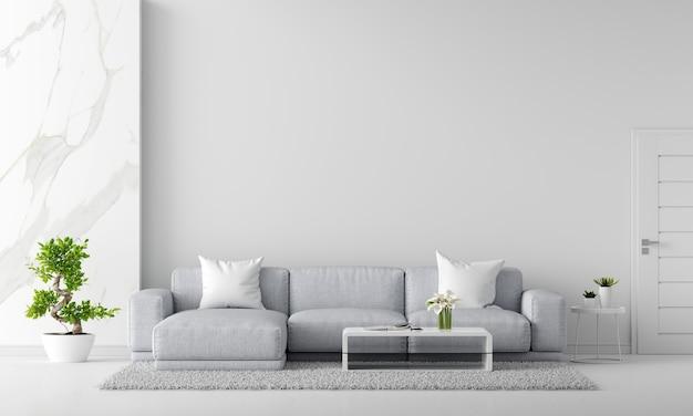 Szara sofa w białym salonie wnętrza z kopią przestrzeni renderowania 3d