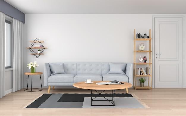Szara sofa w białym salonie