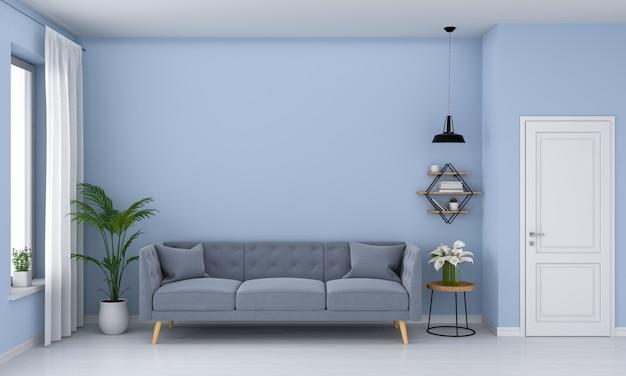 Szara sofa w niebieskim salonie