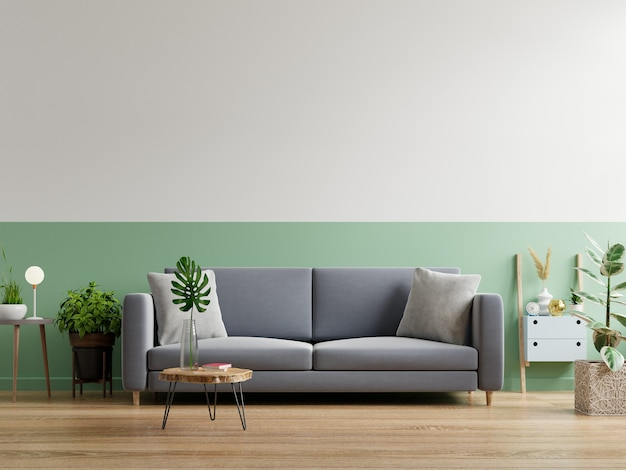 Szara sofa w prostym wnętrzu salonu, renderowanie 3d