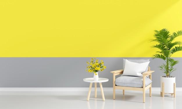 Szara sofa w salonie z wolną przestrzenią