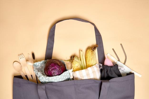 Szara torba na zakupy w kolorze beżowym