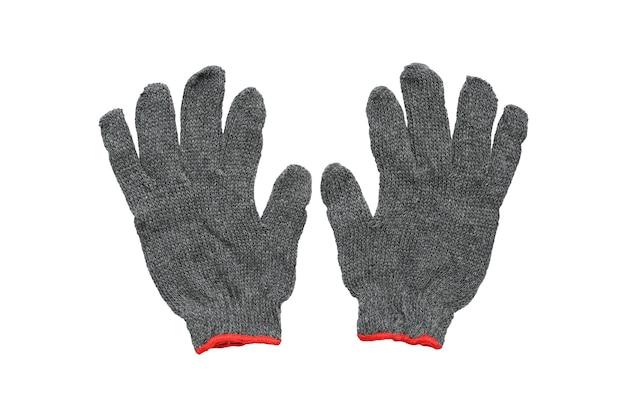 Szare bawełniane rękawiczki na białym tle - clipping path