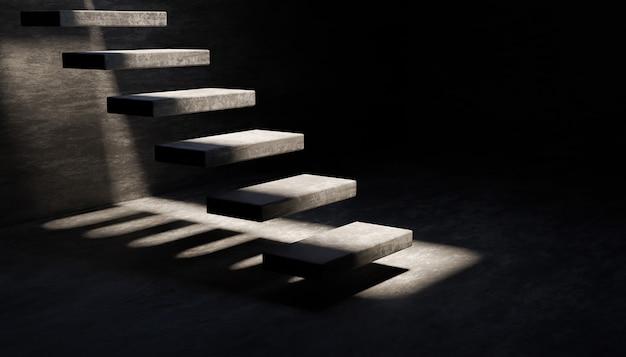 Szare, cementowe, pływające schody w ciemnym pokoju ze światłem wpadającym z góry. renderowanie 3d