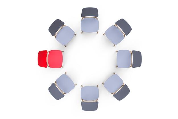 Szare krzesła stoją w kręgu na białym tle. wyróżnia się jedno czerwone krzesło.