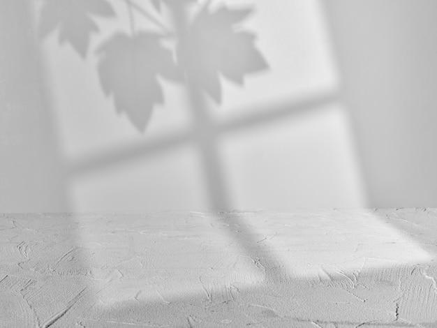 Szare makiety tła ze światłem okna i naturalnymi cieniami