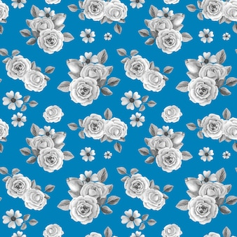 Szare róże na niebieskim tle.